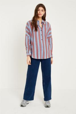 Urban Outfitters - UO Washed Blue and Red Striped Shirt, blue
