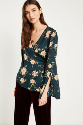 Pins and Needles - Pins  &  Needles Heffner Floral Wrap Blouse, Green