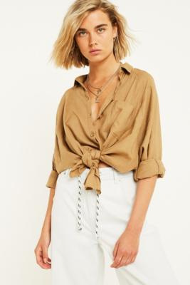 Uo Brendan Khaki Button Down Linen Shirt by Urban Outfitters