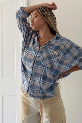 UO Brendan Blue Drapey Button-Down Shirt - Blue XS at Urban Outfitters