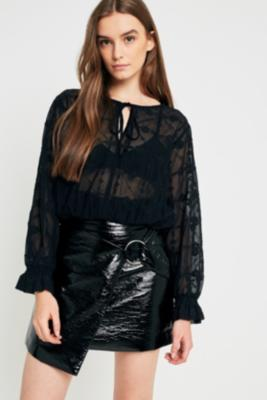 Urban Outfitters - UO Embroidered Sheer Boho Blouse, Black