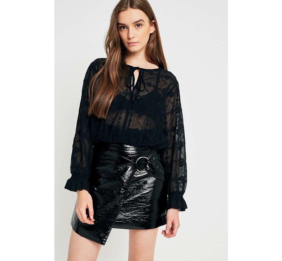 Slide View: 1: UO Embroidered Sheer Boho Blouse
