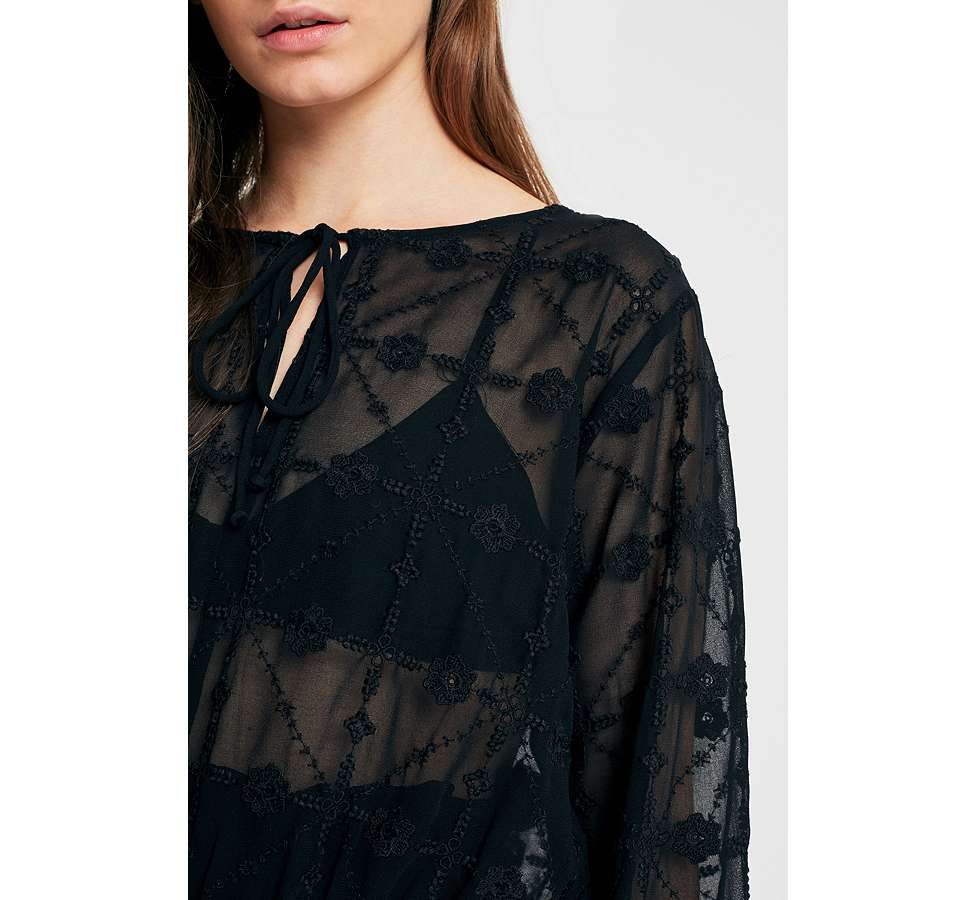 Slide View: 2: UO Embroidered Sheer Boho Blouse