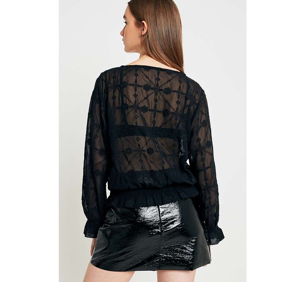 Slide View: 3: UO Embroidered Sheer Boho Blouse