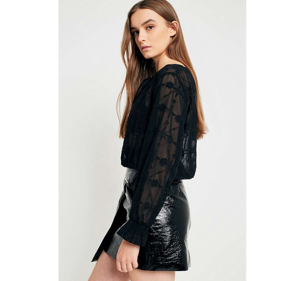 Slide View: 6: UO Embroidered Sheer Boho Blouse