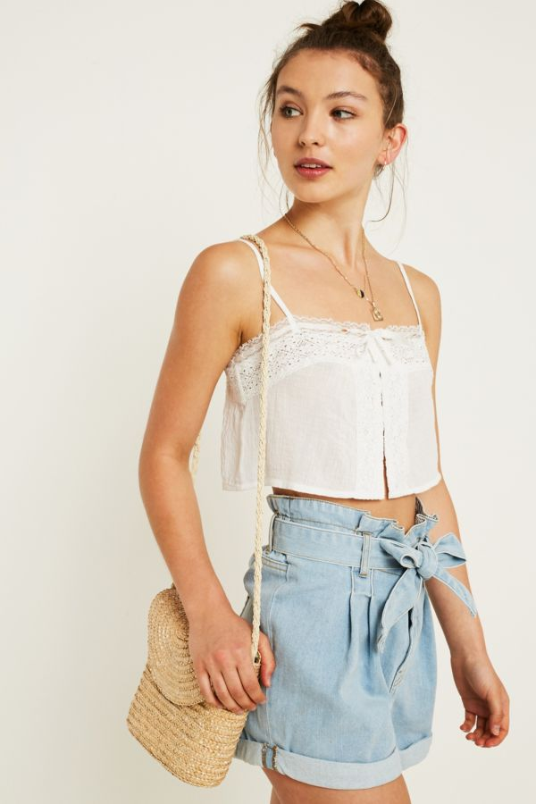 Slide View: 1: UO Cream Lace Boho Cami
