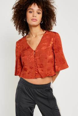 Urban Outfitters - UO Jacquard Cropped T-Shirt, Brown