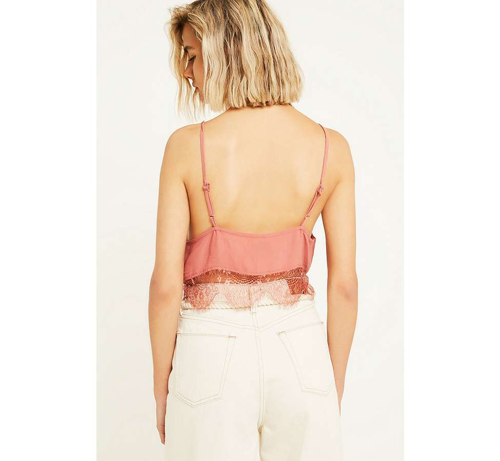 Slide View: 4: UO Vera Pink Cropped Lace Cami
