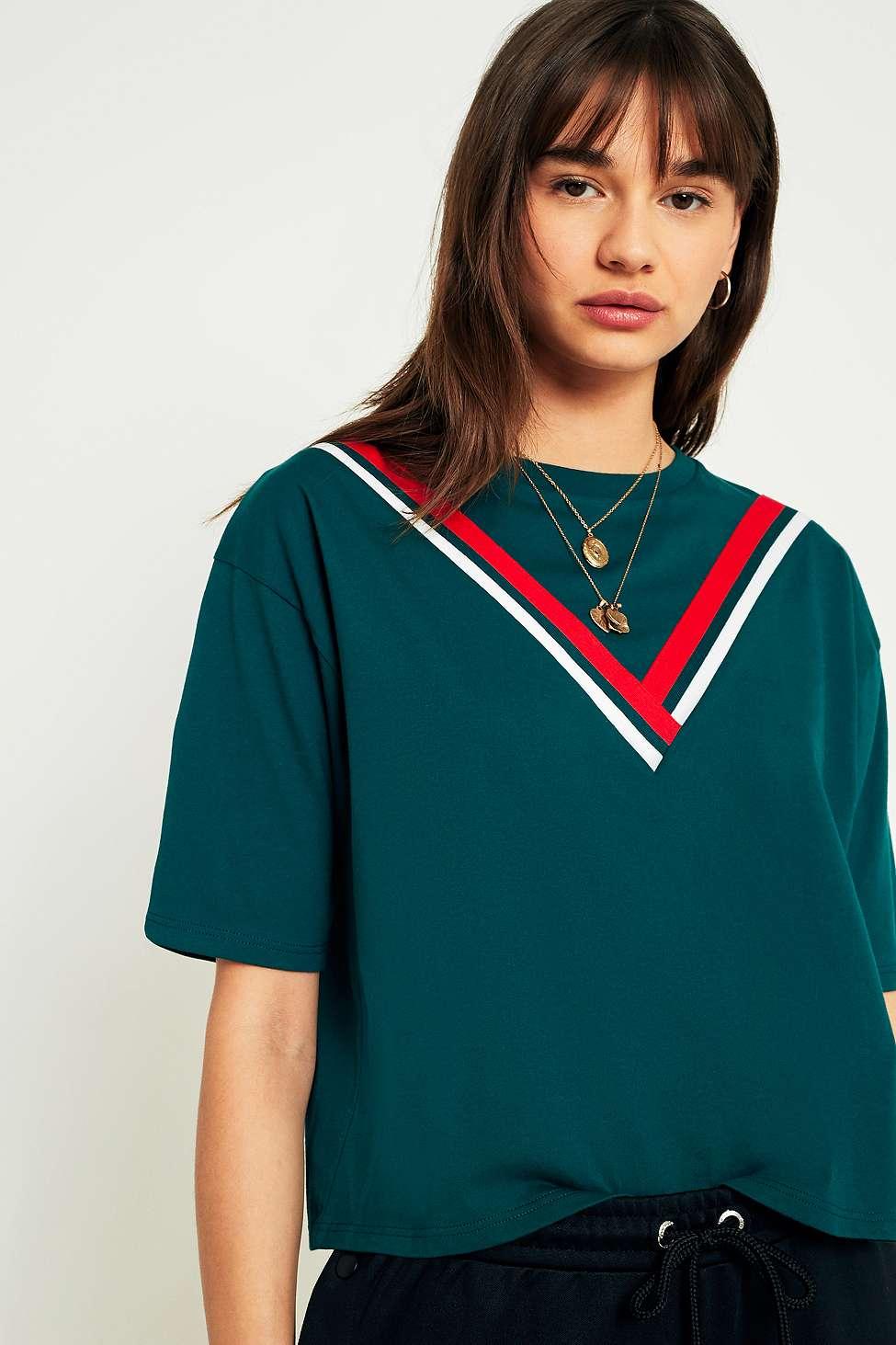 Urban Outfitters Short-Sleeve Chevron T-Shirt, Green
