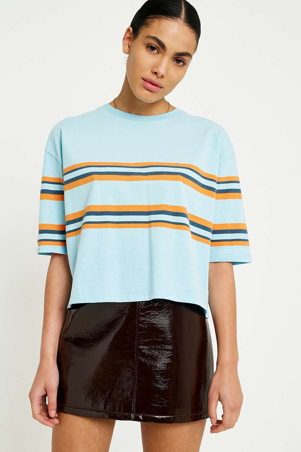UO Striped Boxy T-Shirt, Sky