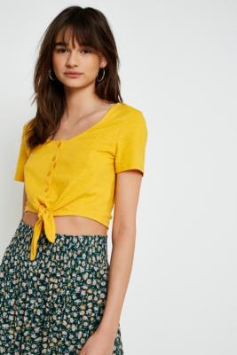 Cooperative by Urban Outfitters - Urban Outfitters Button-Through Tie Front T-Shirt, Dark Yellow