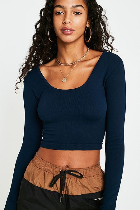 UO Navy Long-Sleeve Square Neck Crop Top 3314319bc