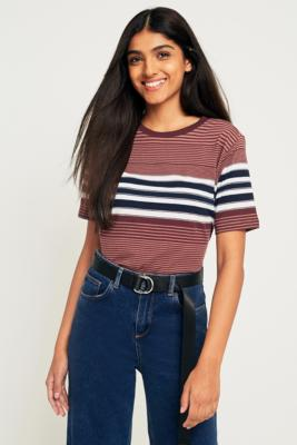 Urban Outfitters - UO Merlot Striped T-Shirt, Maroon