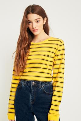 Urban Outfitters - UO Yellow Striped Pocket Long Sleeve T-Shirt, Yellow