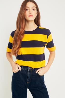 Urban Outfitters - UO Rugby Yellow-and-Navy Striped T-Shirt, Dark Yellow