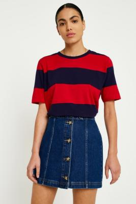 Urban Outfitters - UO Navy and Burgundy Bold Striped T-Shirt, Maroon
