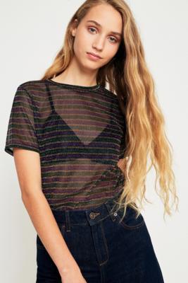 Light Before Dark - Light Before Dark Lurex Metallic Striped T-Shirt, Assorted