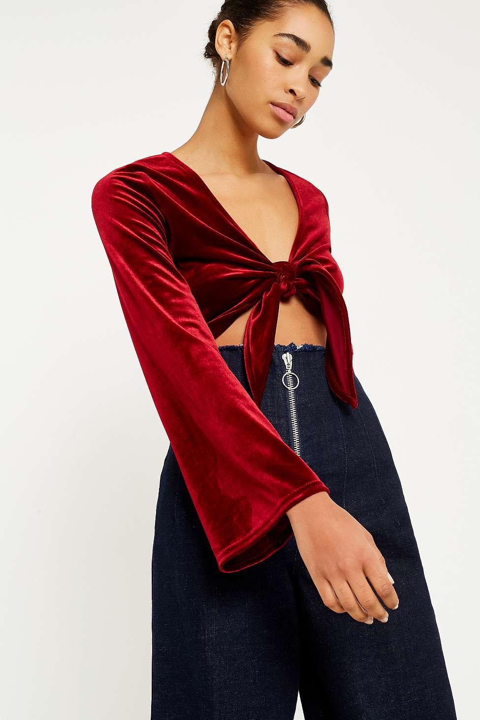 UO Velvet Tie-Front Top, Red