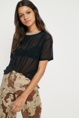 Urban Outfitters - UO Rainbow Tipped Mesh T-Shirt, Black