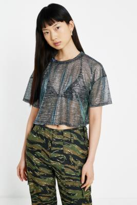 Uo Short Sleeve Metallic Boxy Crop T Shirt by Urban Outfitters