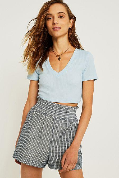ebd4626bc52 UO Blue Ribbed V-Neck Crop T-Shirt. Quick Shop