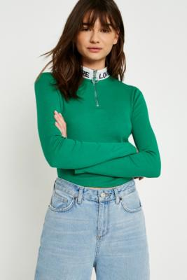 Urban Outfitters - UO More Love Half-Zip Long-Sleeve Top, Green