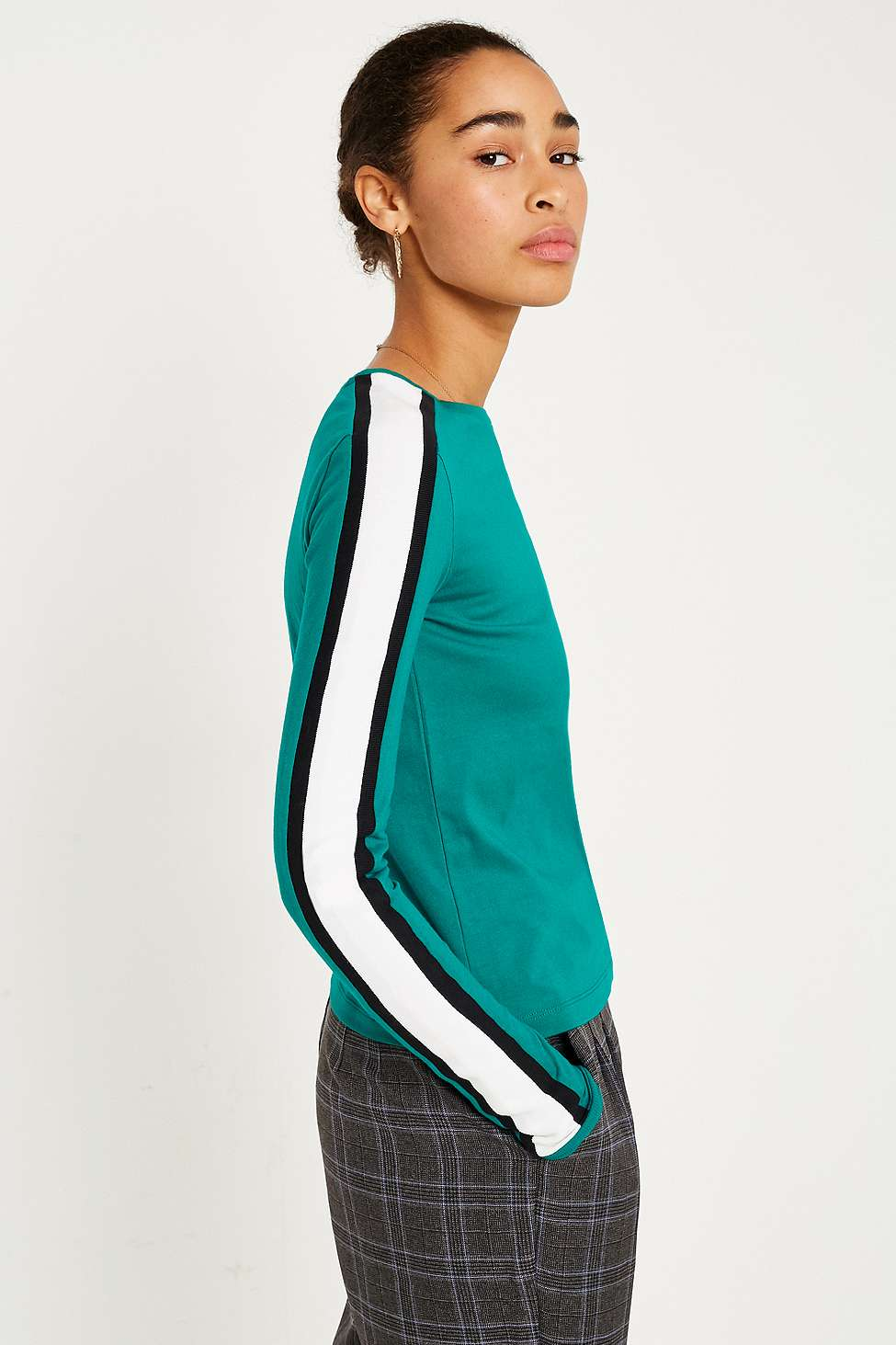 UO Sporty Striped Slim Fit Top, Green