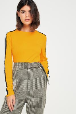 Urban Outfitters - UO Sporty Striped Long Sleeve Top, Yellow