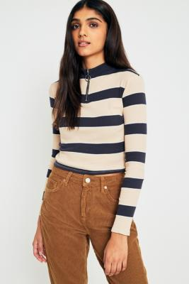 Urban Outfitters - UO Ribbed Striped Half-Zip Long Sleeve Knit Top, Nude