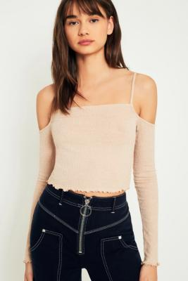 Urban Outfitters - UO Lurex Cold Shoulder Lettuce Edge Top