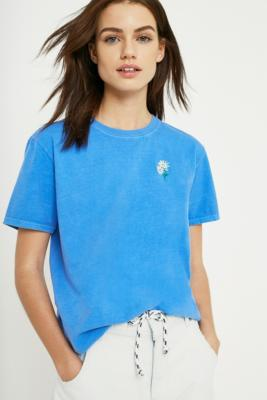 Urban Outfitters - UO Daisy Embroidery Short-Sleeve T-Shirt, Blue