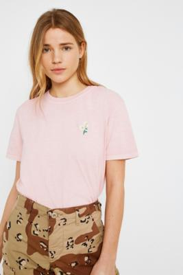 Urban Outfitters - UO Daisy Embroidery Short-Sleeve T-Shirt, Pink