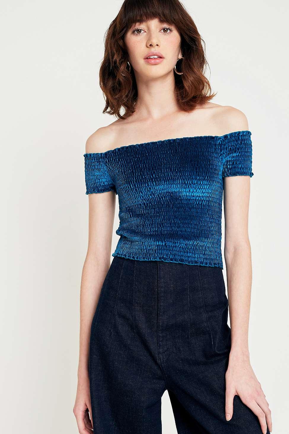 Light Before Dark Bardot Velvet Off-the-Shoulder Top, Turquoise