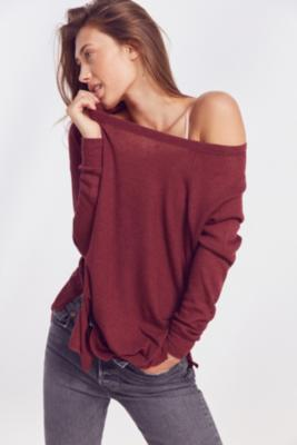 Out From Under - Out From Under Sofia Side-Split Top, Maroon