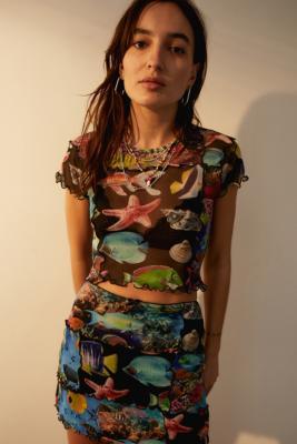 UO Starfish Print Mesh Top - Urban Outfitters - Modalova