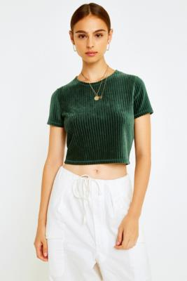 Uo Green Baby Corduroy T Shirt by Urban Outfitters