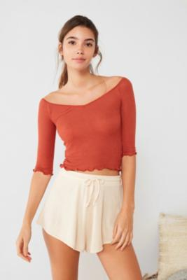 Out From Under - Out From Under Brooke Off-The-Shoulder Ribbed T-Shirt, Orange