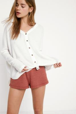 Out From Under - Out From Under Jojo Oversized Thermal Button-Front Top, White