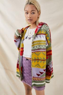 UO - Gilet à capuche patchwork - Urban Outfitters - Modalova