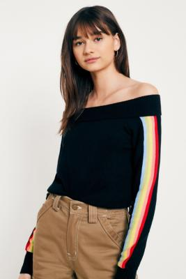 Cooperative by Urban Outfitters - Urban Outfitters Rainbow Longline Bardot Jumper, Black