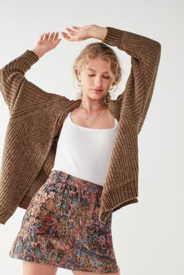 Uo Plush Long Sleeve Chenille Cardigan by Urban Outfitters