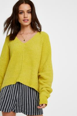 Urban Outfitters - UO Plush Chenille Yellow V-Neck Jumper, yellow