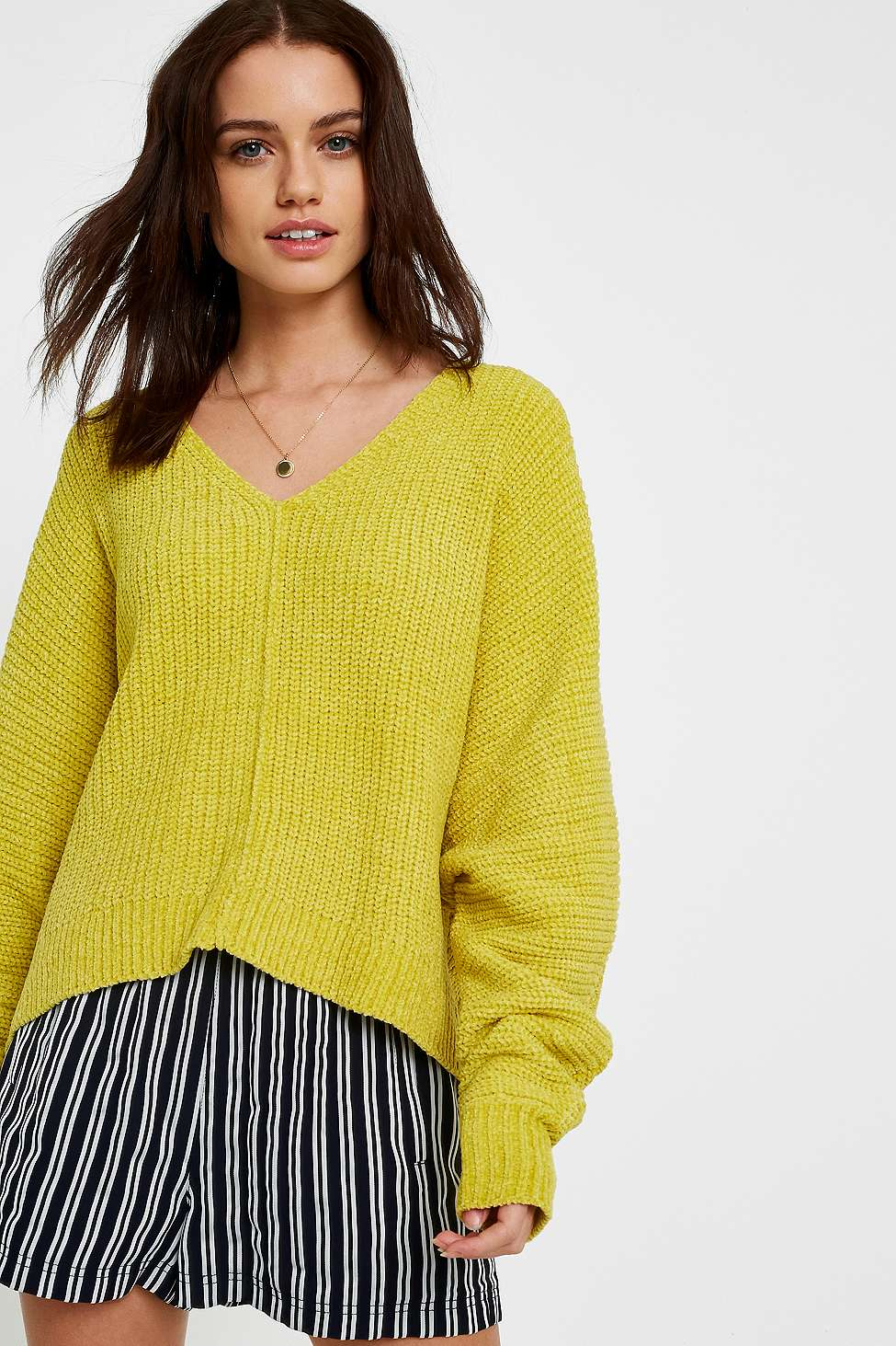 UO Plush Chenille V-Neck Jumper, Yellow