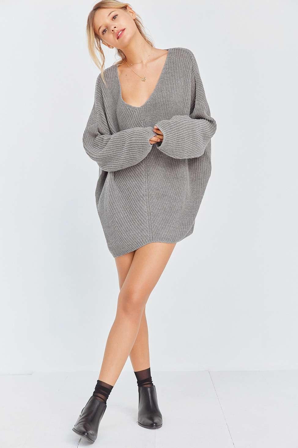 BDG Harper Knit High/Low Jumper, Grey