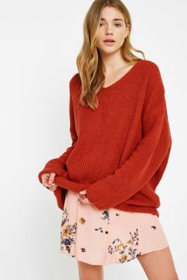 BDG - BDG Harper Knit High/Low Jumper, Red