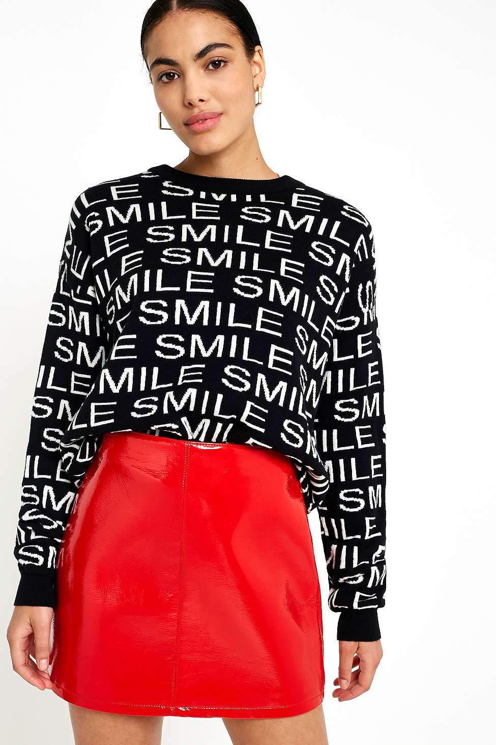 Urban Outfitters Smile Jumper, Black
