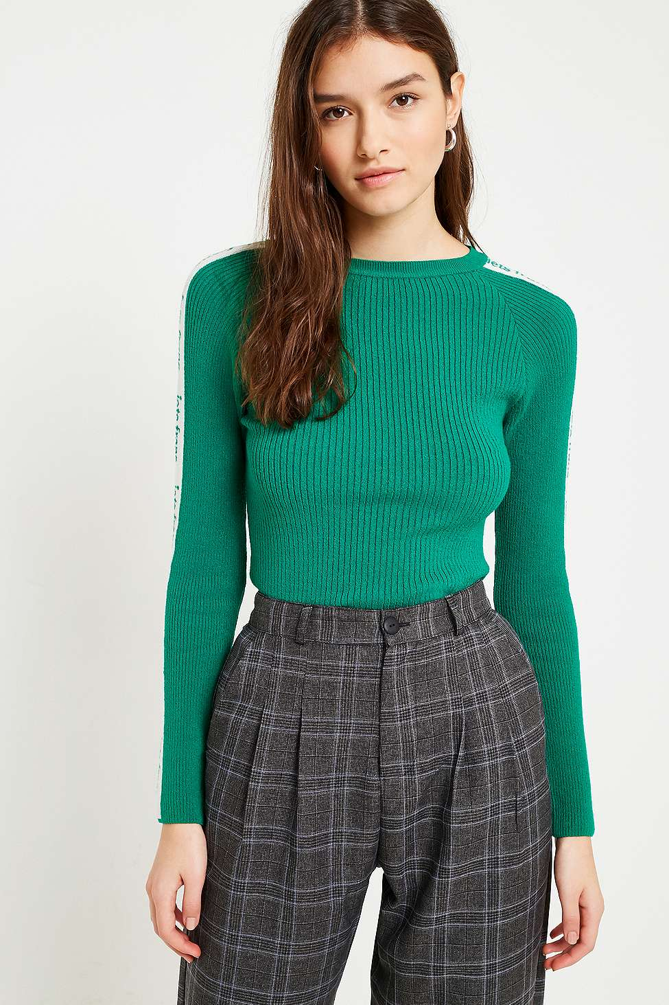 iets frans…  Logo Taped Sleeve Ribbed Jumper, Green