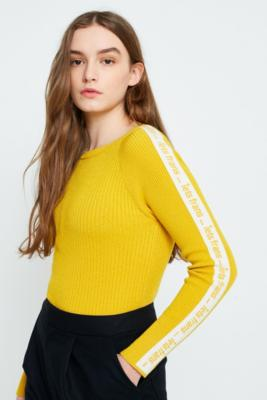 iets frans... - iets frans…  Logo Taped Sleeve Ribbed Jumper, Dark Yellow