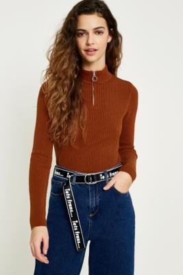 Cooperative by Urban Outfitters - Urban Outfitters Ribbed Zip-Up Funnel Neck Jumper, Bronze