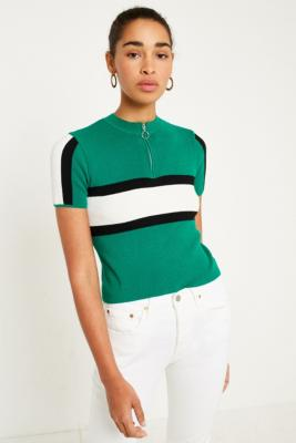 Cooperative by Urban Outfitters - Urban Outfitters Half-Zip Sporty Striped Short Sleeve Jumper, Green